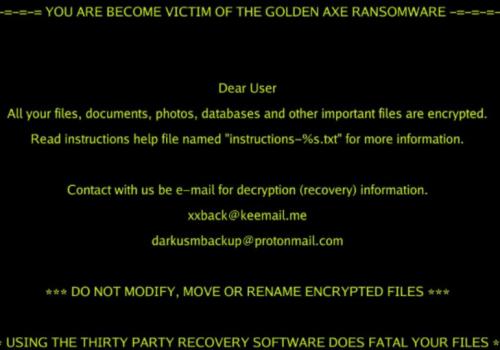 Golden Axe ransomware virus entfernen