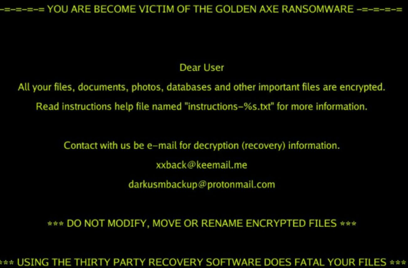 Fjern Golden Axe ransomware virus