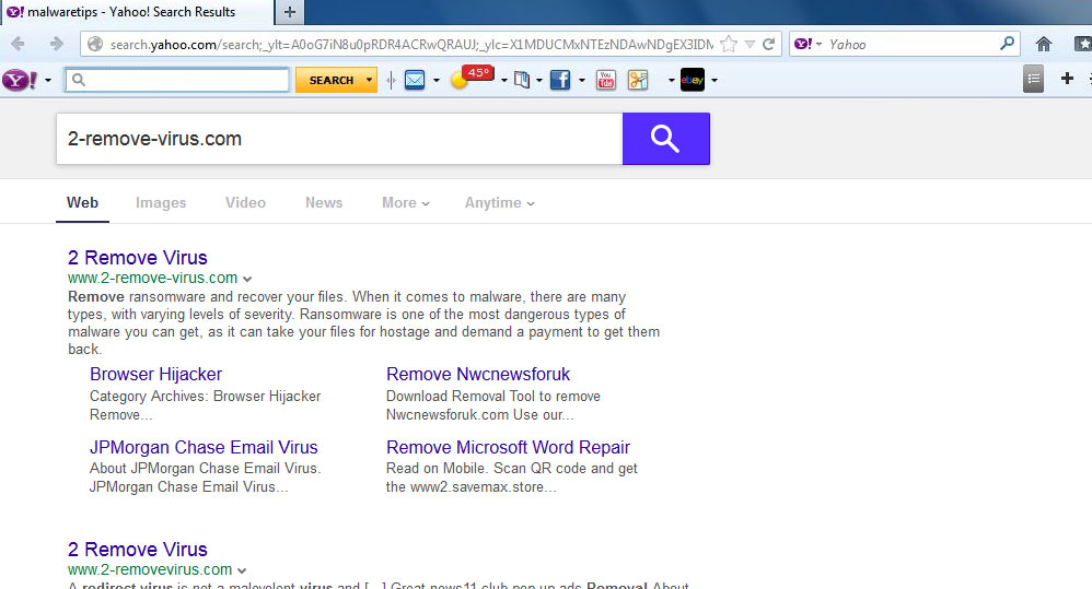 Yahoo Toolbar virus Removal