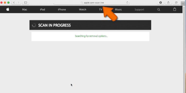 Remove Apple com-scan live Online Scam