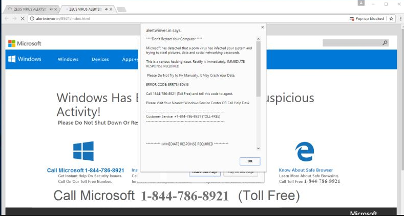 Távolítsa el Microsoft Has Detected a Malicious Virus On Your System Scam
