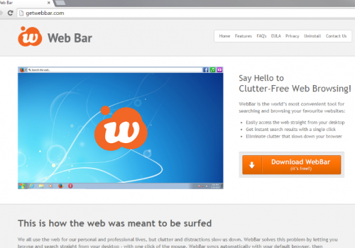 Como removerWeb Bar toolbar