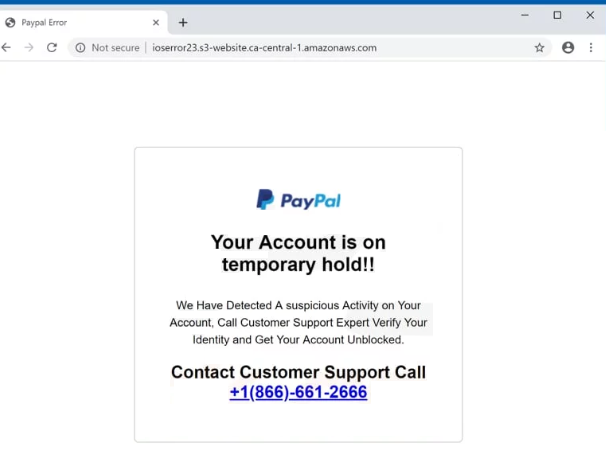PayPal Account Is On Hold POP-UP Scam