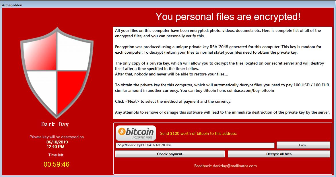 เอาออก Armageddon Ransomware ไวรัสไฟล์