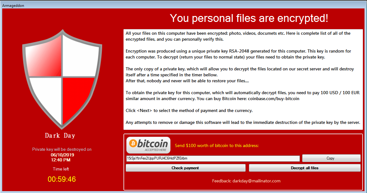 Kaldır Armageddon Ransomware -. Armageddon dosya virüsü