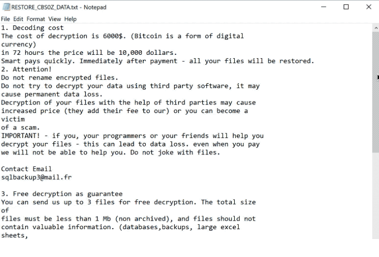 How to remove cbs0z ransomware