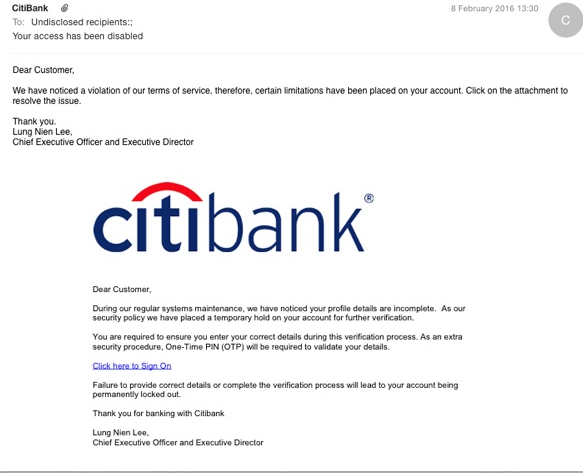 CitiBank virus – Scam Email Virus