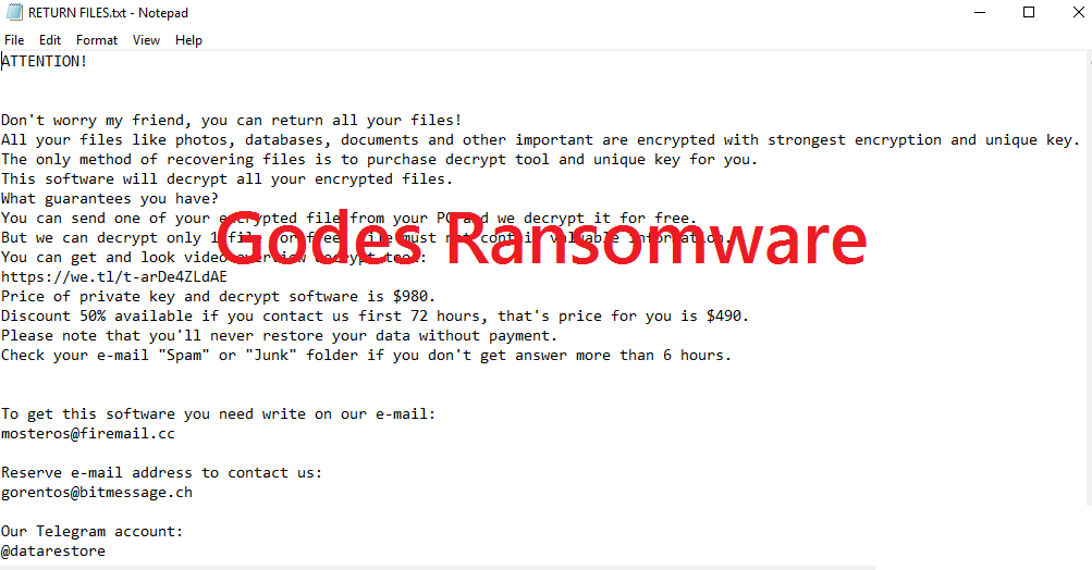 Togliere Godes Ransomware