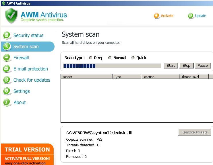 Menghapus AWM Antivirus