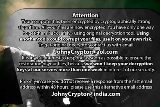 JohnyCryptor@aol.com.xtbl Virus-