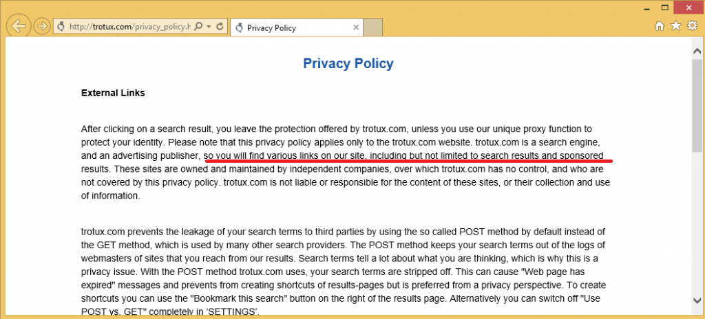 Trotux Privacy Policy