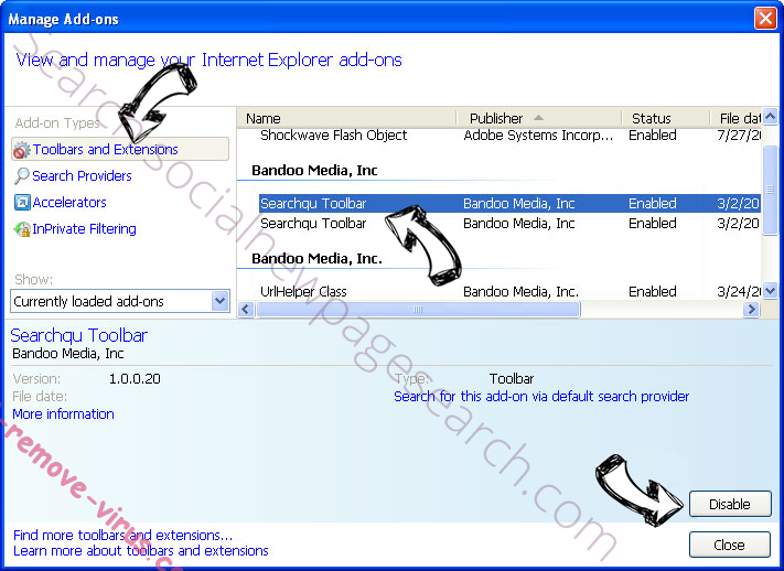 Private-search.xyz IE toolbars and extensions