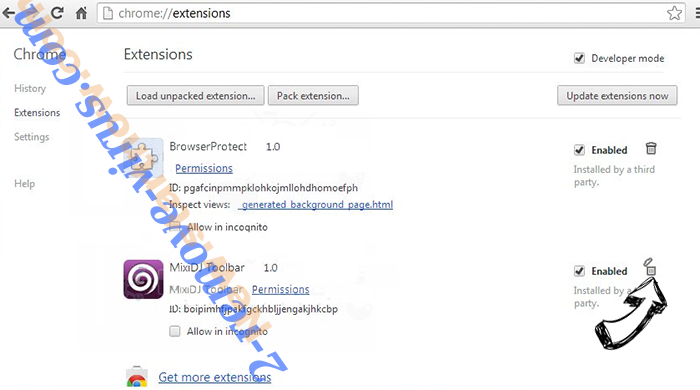 All Mypage Virus Chrome extensions remove