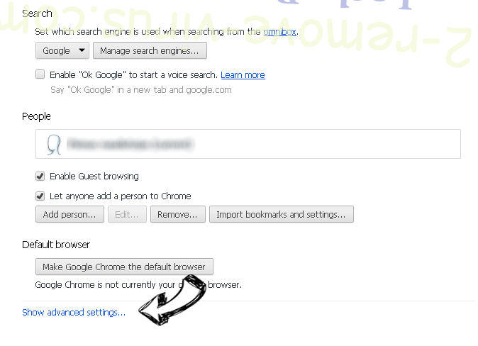 Websearch.searchuniverse.info Chrome settings more