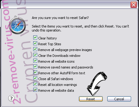 Crypren virus Safari reset