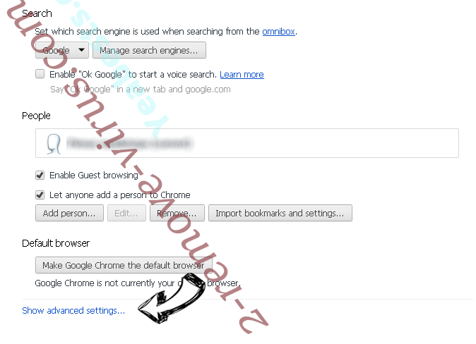 WARNING CRITICAL MESSAGE scam (Virus Removal Guide) Chrome settings more