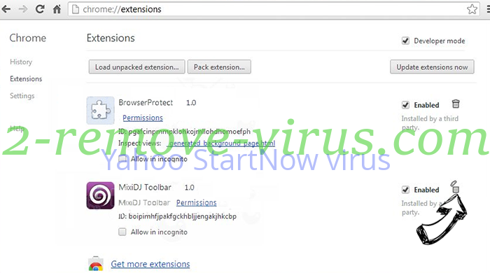 Yahoo StartNow virus Chrome extensions remove