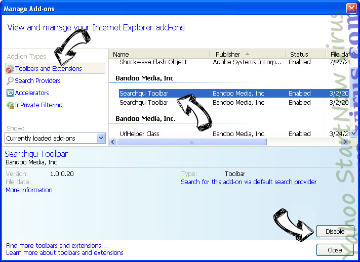 Yahoo StartNow virus IE toolbars and extensions