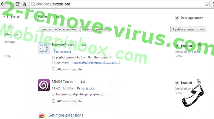 Mobilepinbox.com Chrome extensions remove