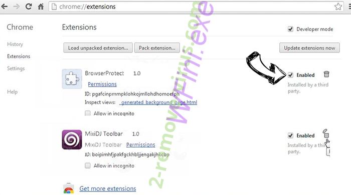 2solo.biz Chrome extensions disable