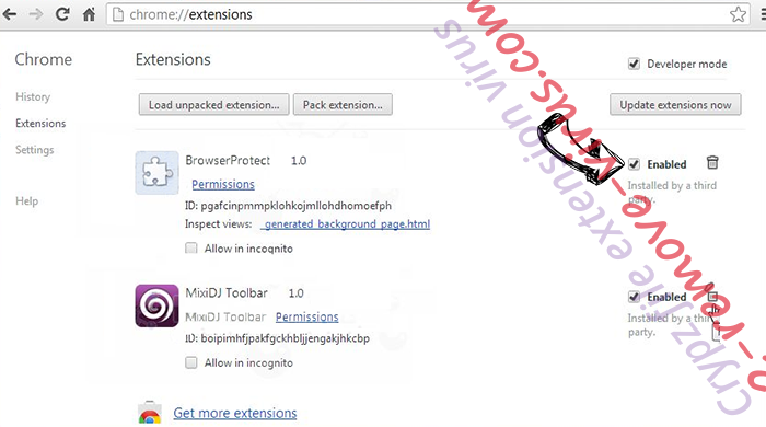 Wasterestinfor.info Chrome extensions disable