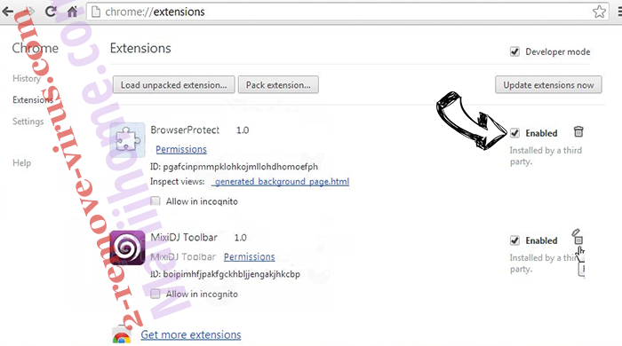 PDFSearches Chrome extensions disable