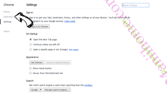 PDFSearches Chrome settings