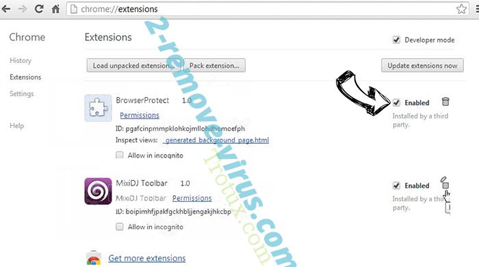 Trotux.com Chrome extensions disable