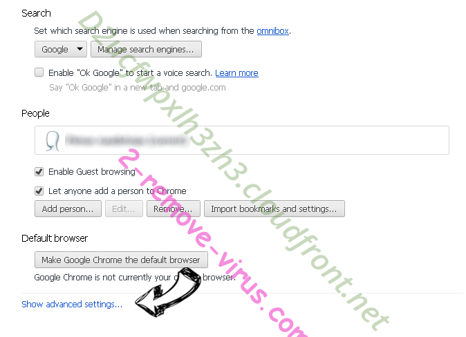 Searches.network Chrome settings more
