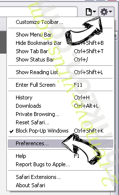 Product Locator Safari menu