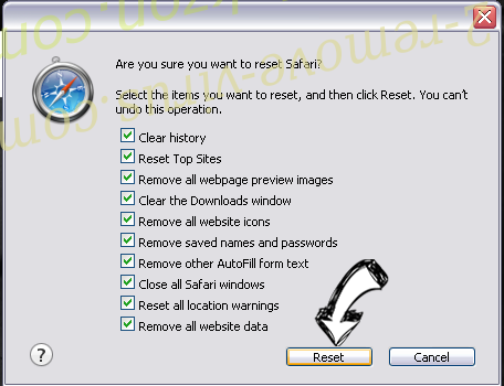 Product Locator Safari reset