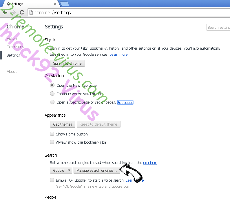 Y2search.com Chrome extensions disable