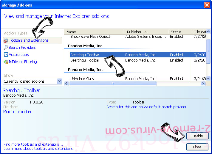 Y2search.com IE toolbars and extensions