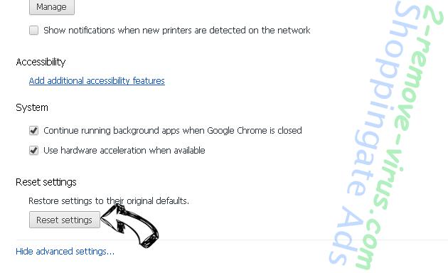 Catests.space pop-up ads Chrome advanced menu