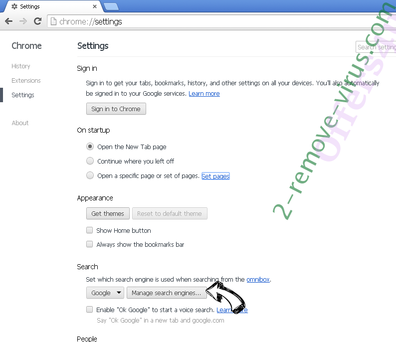 ESearch Browser Hijacker Chrome extensions disable