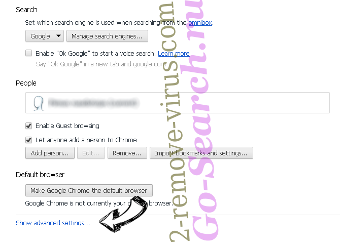 Searchroute Chrome settings more