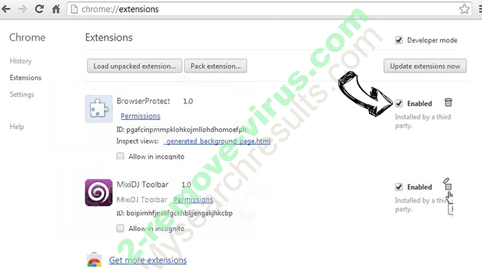 Lijit.com Browser Hijacker Chrome extensions disable