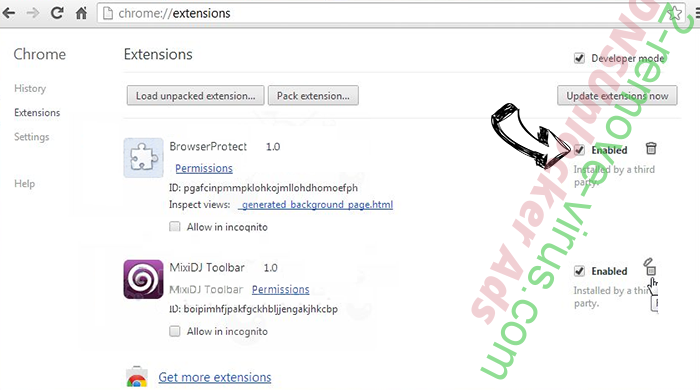 Clickpush.biz virus Chrome extensions disable