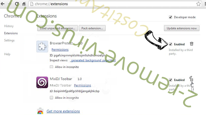 Pony virus Chrome extensions disable