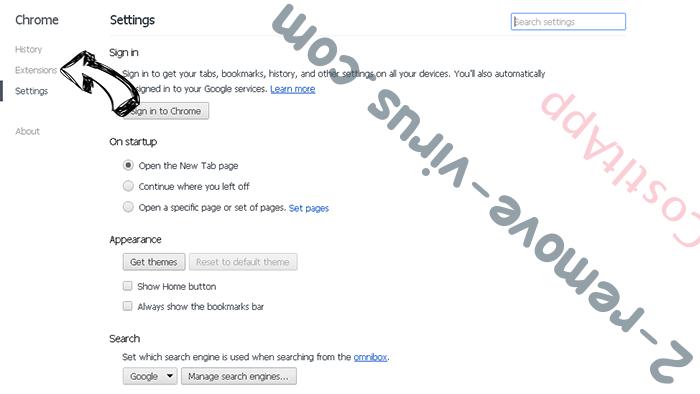 Pony virus Chrome settings