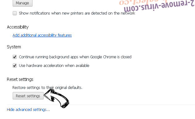 Optimalsearch.me Chrome advanced menu