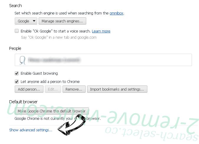 Optimalsearch.me Chrome settings more