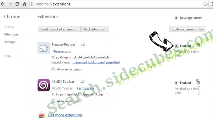 BatBitRst adware Chrome extensions disable