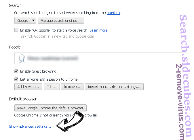 Searchbaron.com Chrome settings more