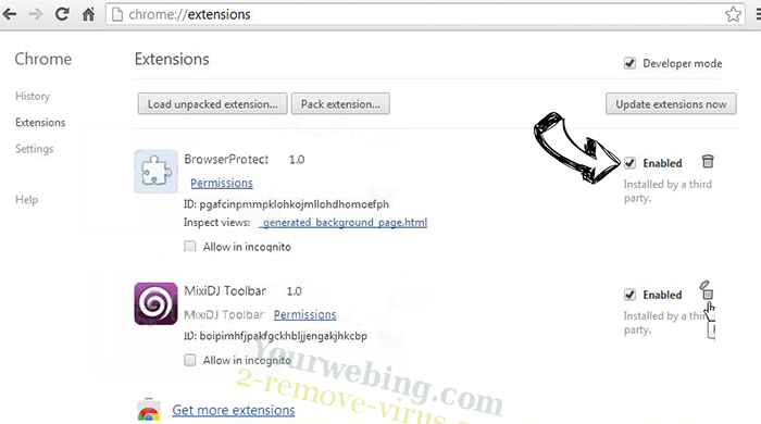 Millianthost.club Chrome extensions disable
