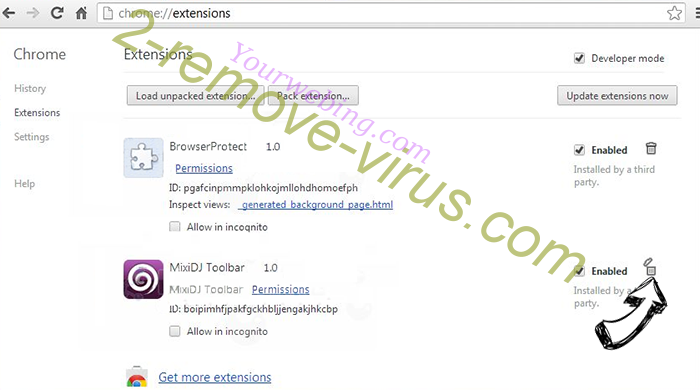 Burst Search Chrome extensions remove