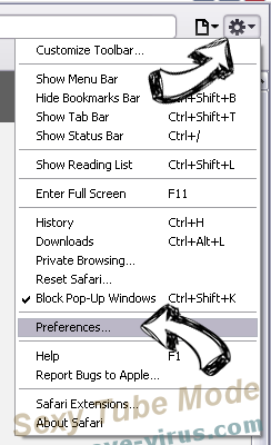 Thesafebrowsing.com Safari menu