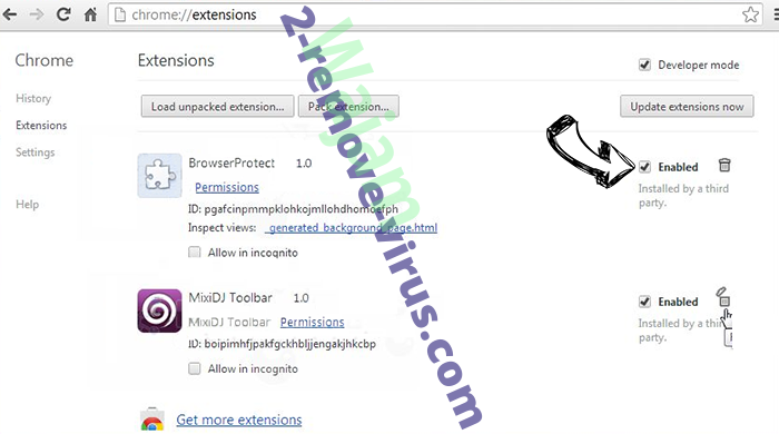 Search.gilpierro.com Chrome extensions disable