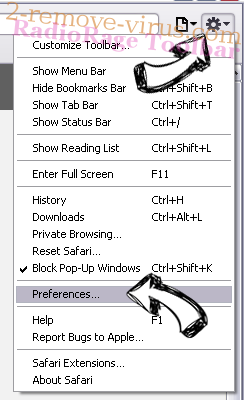 Browsersecuritycenter.com Safari menu