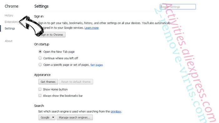 ConverterSearchNow Chrome settings